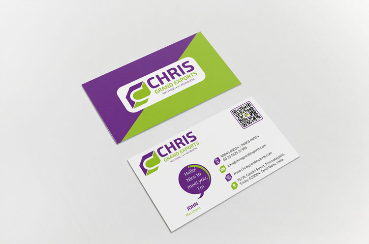 Export Company Business Card Design Agency in Coimbatore